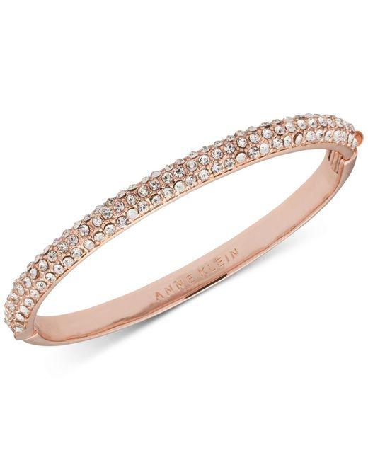 Anne Klein | Pink Rose Gold-tone Crystal Pave Bangle Bracelet | Lyst