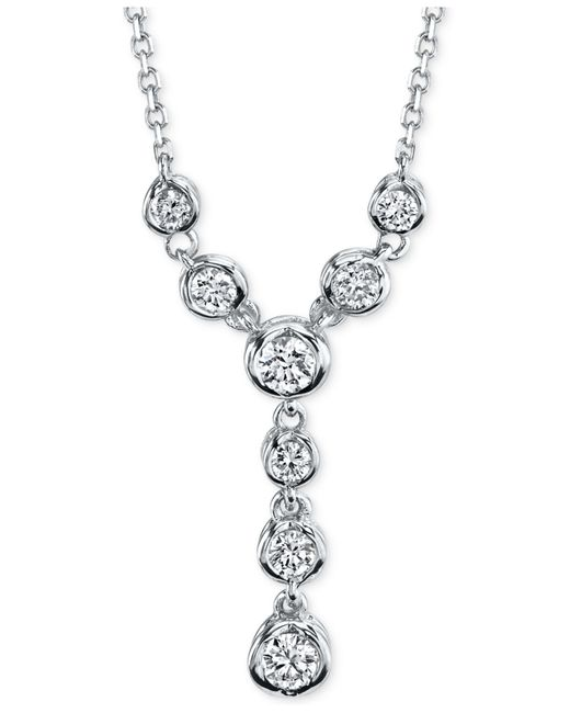 Macy's | Metallic Sirena Energy Diamond Lariat Necklace (1/4 Ct. T.w.) In 14k White Or Yellow Gold | Lyst