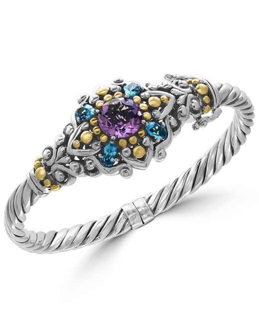 Effy Collection | Metallic Amethyst (3 Ct. T.w.) And Blue Topaz (2-1/6 Ct. T.w.) Bracelet In Sterling Silver And 18k Gold | Lyst