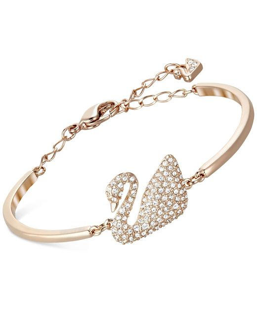 Swarovski | Pink Rose Gold-tone Crystal Swan Bangle Bracelet | Lyst