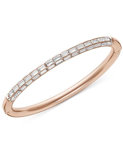 Swarovski | Pink Rose Gold-tone Crystal Bangle Bracelet | Lyst