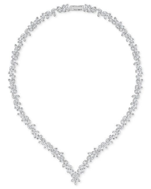 Swarovski | Metallic Silver-tone Marquise Crystal V-necklace | Lyst