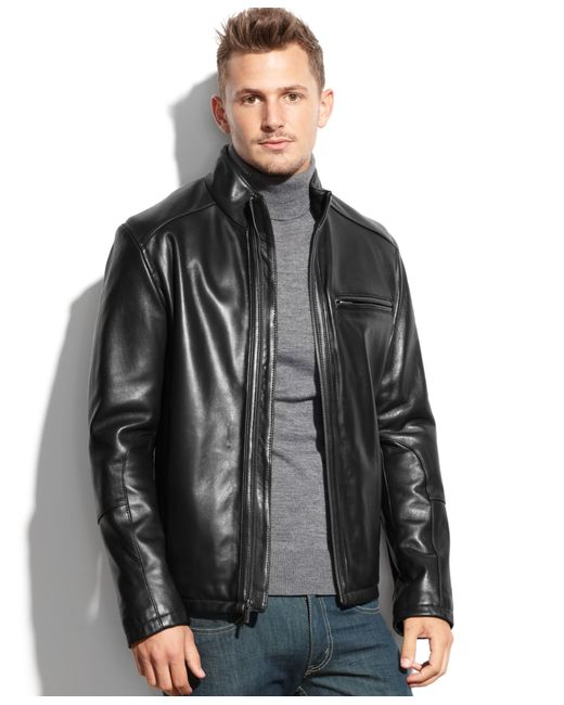 Cole Haan | Black Smooth Leather Jacket for Men | Lyst