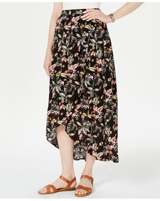 Style & Co. Black Printed High-low Skirt, Created For Macy's