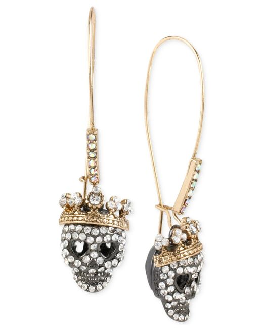 Betsey Johnson | Metallic Two-tone Pavé Skull Long Drop Earrings | Lyst