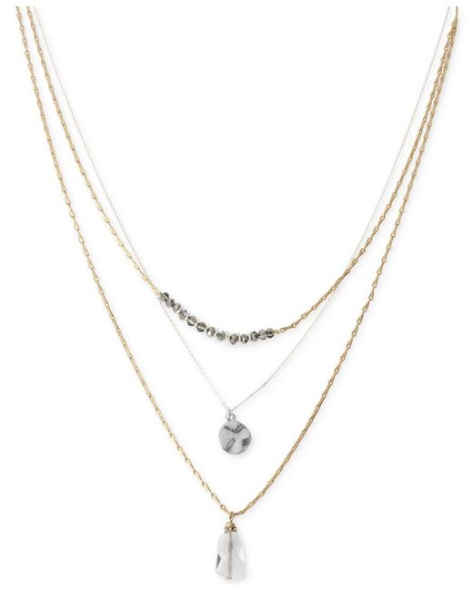 Kenneth Cole   Metallic Two-tone Layer Pendant Necklace   Lyst