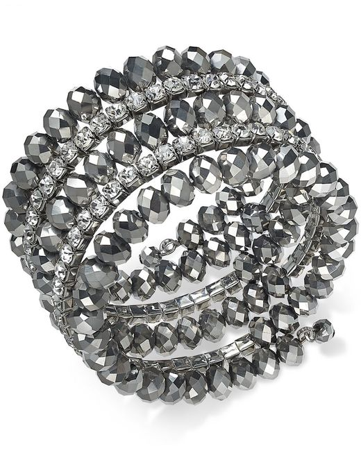 INC International Concepts | Metallic Hematite-tone Coil Wrap Beaded Bracelet, Only At Macy's | Lyst