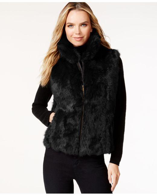 Surell | Black Pockets & Front Zip Rabbit Fur Vest | Lyst