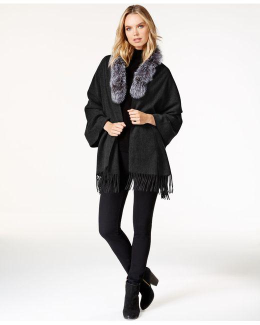 Surell | Black Fox Fur Collar Fringe Cape | Lyst