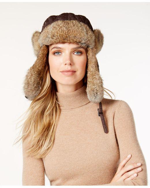Surell | Black Rabbit Fur Trim Visor Quilted Trooper Hat | Lyst