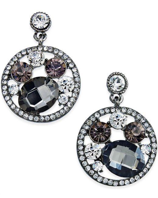 ABS By Allen Schwartz | Metallic Hematite-tone Multi-stone Circle Drop Earrings | Lyst
