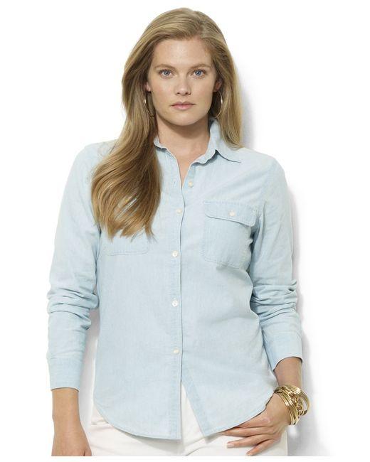 Lauren by ralph lauren plus size chambray shirt in blue lyst for Plus size chambray shirt