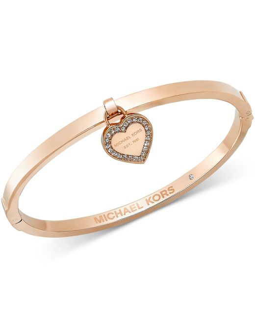 Michael Kors | Pink Gold-tone Bangle With Mk Charm | Lyst