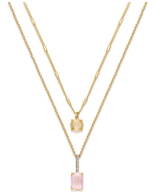 kate spade new york | Metallic Gold-tone Stone Two-row Pendant Necklace | Lyst