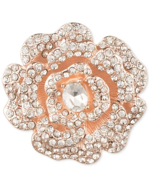 Anne Klein | Pink Rose Gold-tone Crystal Flower Brooch, A Macy's Exclusive Style | Lyst