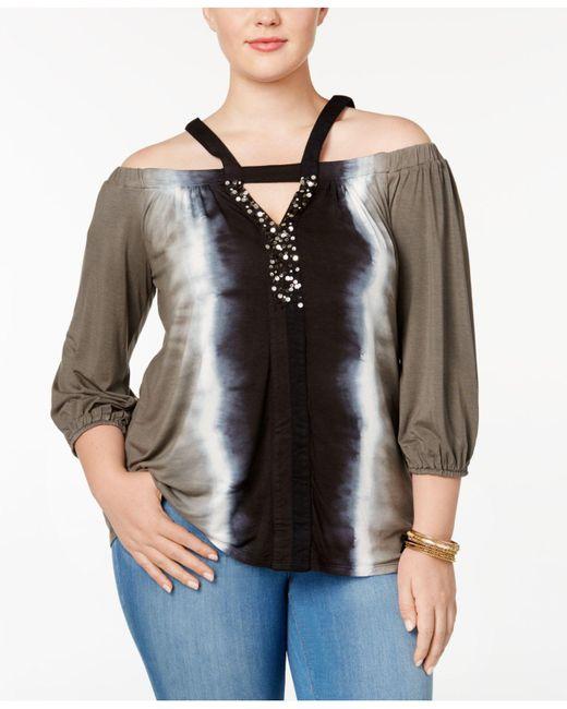 INC International Concepts | Black Plus Size Embellished Cold-shoulder Top | Lyst