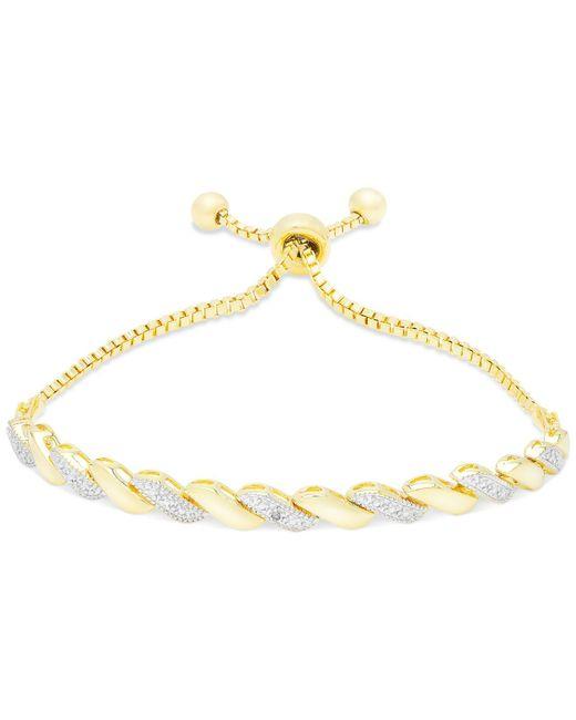 Macy's   Metallic Cubic Zirconia Adjustable Slide Bracelet In 18k Gold Over Brass   Lyst