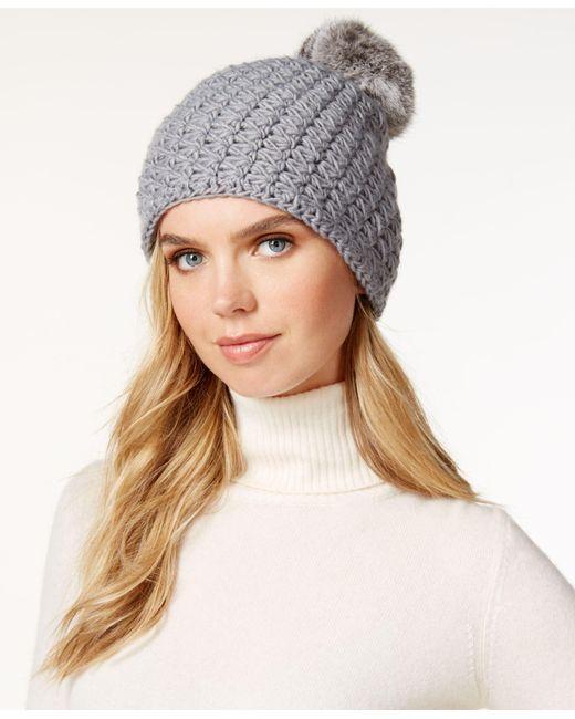 Surell | Gray Star Stitched Knit Rabbit Fur Pom Hat | Lyst