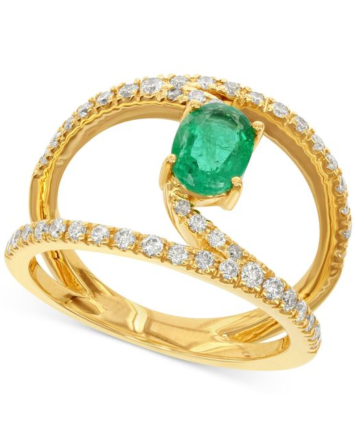 Macy's | Green Emerald (7/8 Ct. T.w.) And Diamond (1/2 Ct. T.w.) Ring In 14k Gold | Lyst