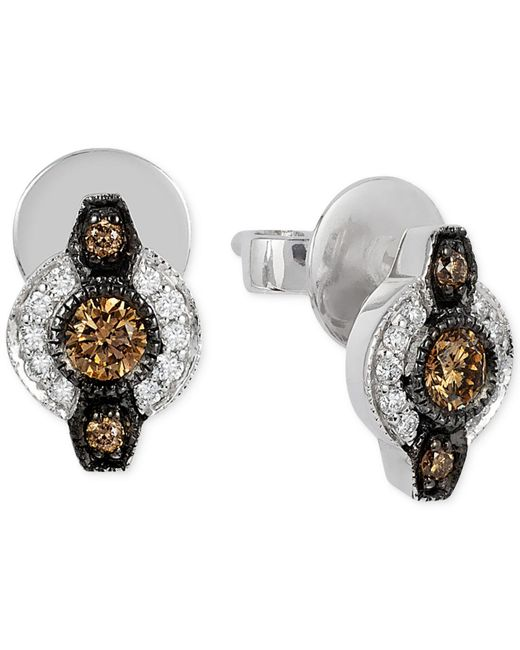 Le Vian | Brown Chocolatier® Chocolate Deco Estate™ Diamond (6- 18 Ct. T.w.) Stud Earrings In 14k White Gold | Lyst