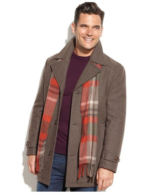 London Fog | Brown Single-Breasted Wool-Blend Car Coat for Men | Lyst