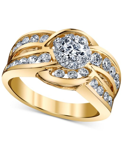 Macy's | Metallic Diamond Engagement Twist Ring (1-1/4 Ct. T.w.) In 14k Gold And White Gold | Lyst