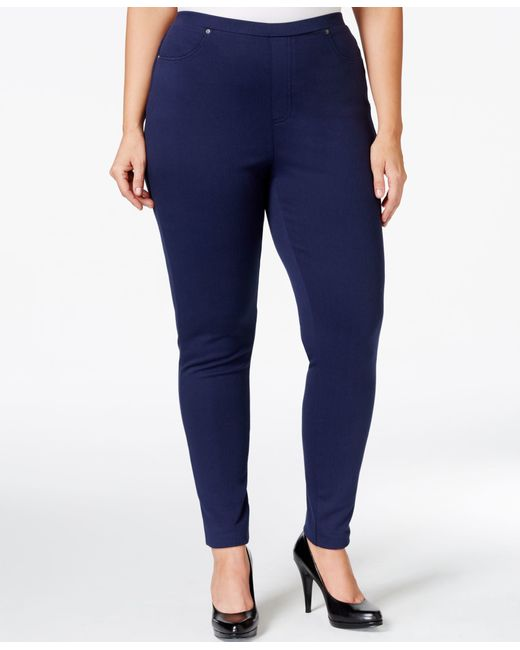 Style & Co. | Blue Plus Size Pull-on Twill Leggings, Only At Macy's | Lyst