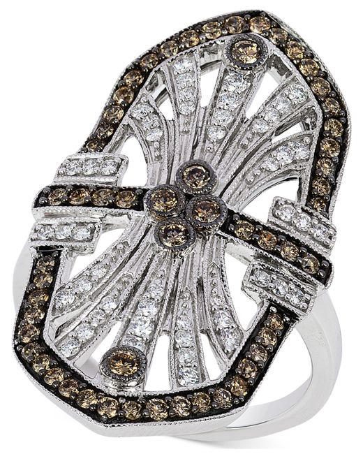 Le Vian | Metallic Chocolate And White Diamond Deco Ring (9/10 Ct. T.w.) In 14k White Gold | Lyst