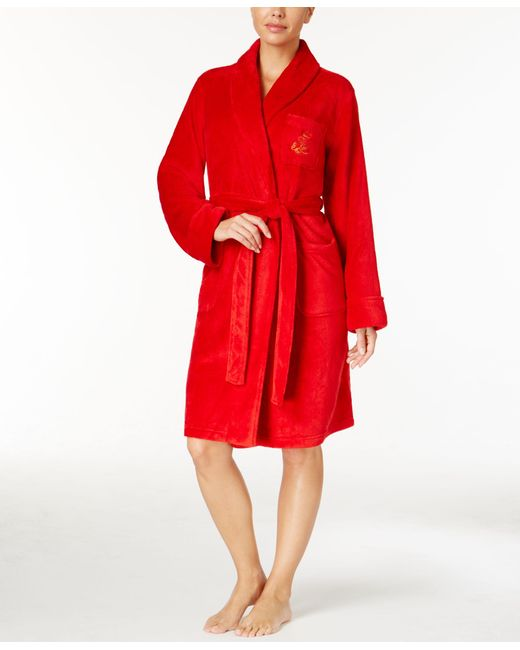 Lauren by Ralph Lauren   Red Essentials Quilted Collar And Cuff Robe   Lyst
