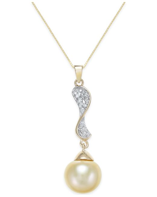 Macy's | Metallic Cultured Golden South Sea Pearl (10mm) And Diamond (1/10 Ct. T.w.) Pendant Necklace In 14k Gold | Lyst