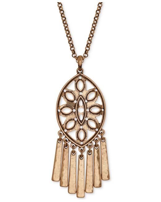 Lucky brand gold tone dreamcatched fringe pendant necklace for Macy s lucky brand jewelry