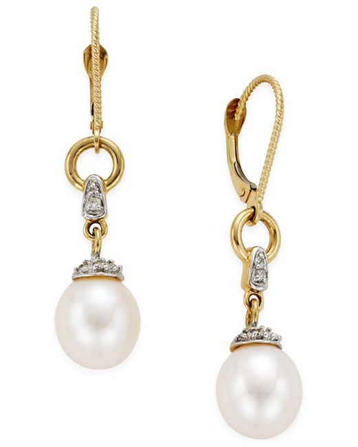 Macy's | Metallic Freshwater Pearl (9mm) And Diamond Accent Drop Earring In 14k Gold | Lyst