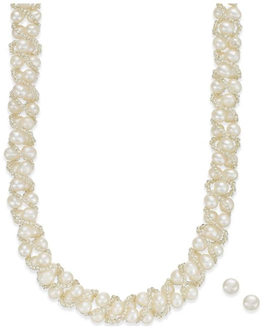 Macy's | Metallic Cultured Freshwater Pearl Necklace (4mm) And Stud Earrings (7-1/2mm) Set In Sterling Silver | Lyst