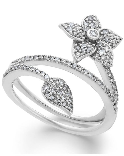 Macy's Metallic Diamond Wrap-around Flower Ring In Sterling Silver (1/2 Ct. T.w.)