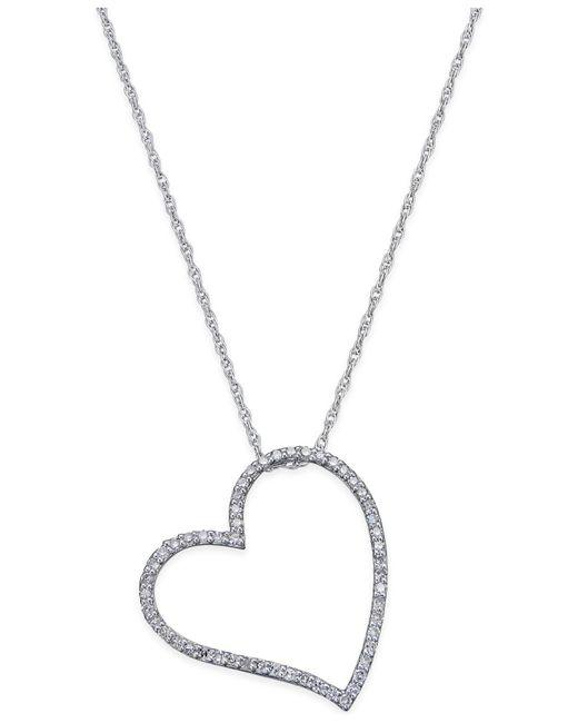 Macy's | Metallic Diamond Floating Heart Pendant Necklace (2/5 Ct. T.w.) In Sterling Silver | Lyst