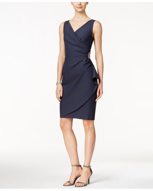 Alex Evenings Embellished Ruched Sheath Dress In Blue