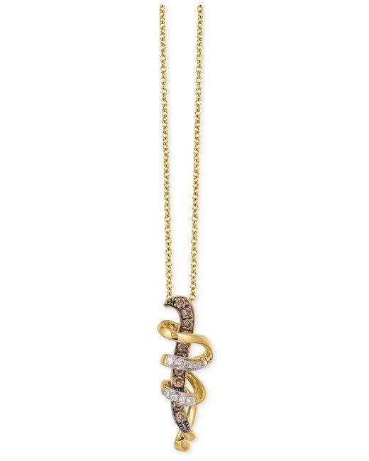 Le Vian | Metallic Diamond Swirl Pendant Necklace (1/6 Ct. T.w.) In 14k Gold | Lyst