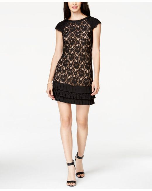 Jessica Simpson | Black Dress, Cap-sleeve Lace Pleated Tiered | Lyst