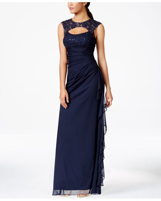 Macys Navy Blue Dresses: Betsy & Adam B&a By Betsy And Adam Lace-trim Cutout Ruched