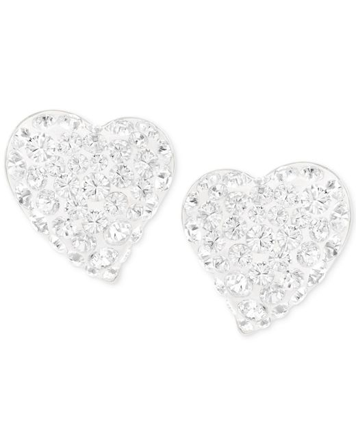 Swarovski | Metallic Alana Silver-tone Clear Crystal Heart Stud Earrings | Lyst