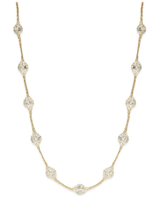 Macy's 14k Gold Necklace, Metallic Thread Crystal Station Necklace