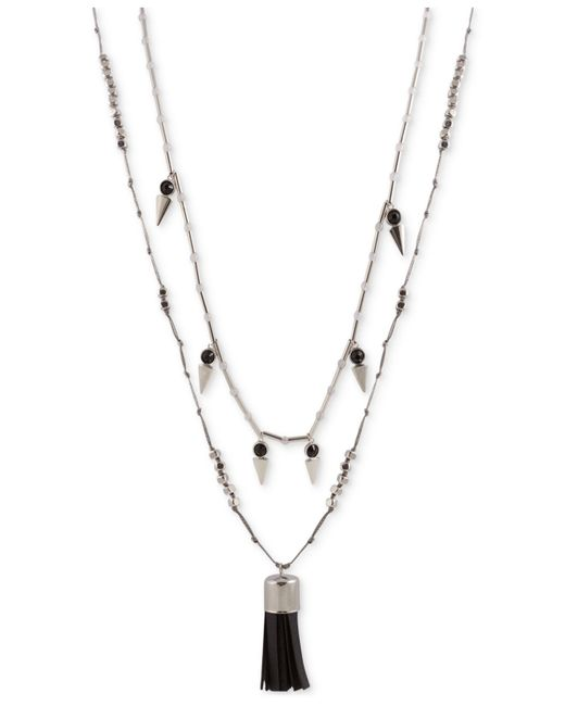 French Connection   Metallic Silver-tone Bead And Dagger Tassel Necklace   Lyst