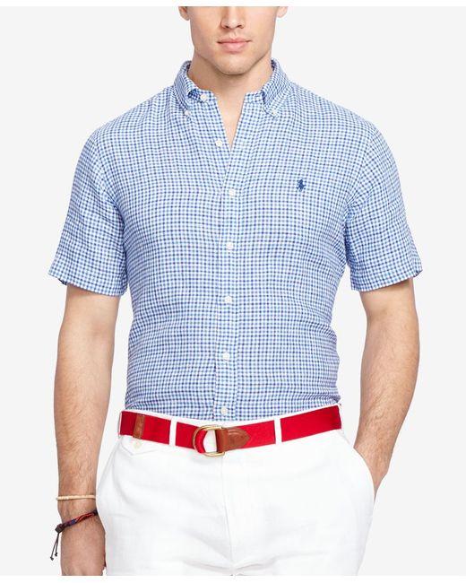 Polo ralph lauren big tall men 39 s short sleeve checked for Mens medium tall shirts