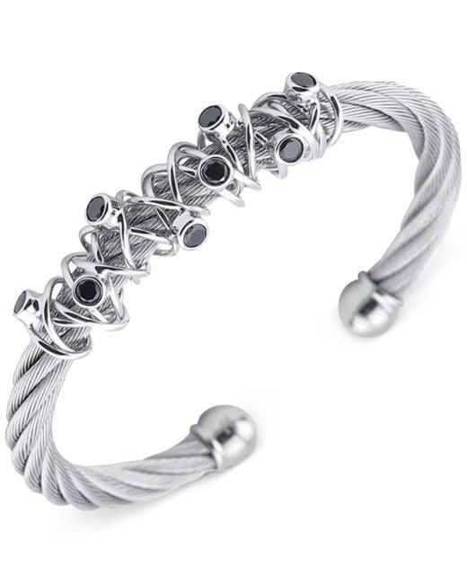 Charriol - Metallic Women's Silver-tone Black Spinel Cable Bangle Bracelet - Lyst