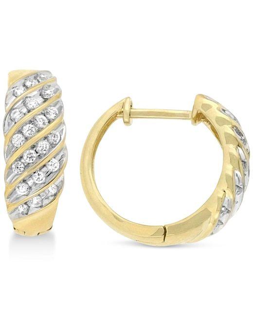 Wrapped in Love - Metallic Diamond Channel Hoop Earrings (1/2 Ct. T.w.) In 10k Gold - Lyst