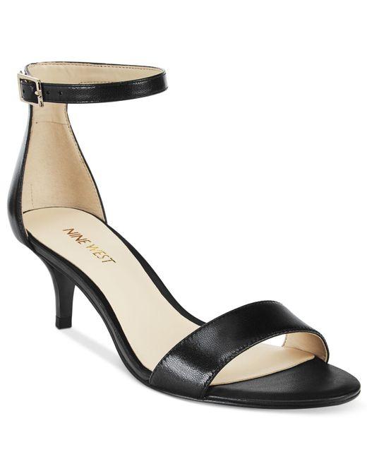 Nine West Leisa Two Piece Kitten Heel Sandals In Black