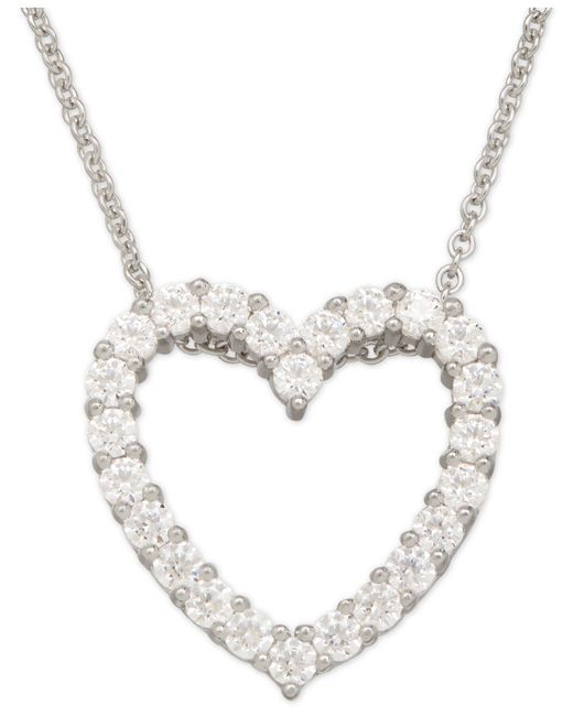 Macy's | Metallic Cubic Zirconia Heart Pendant Necklace In Sterling Silver | Lyst