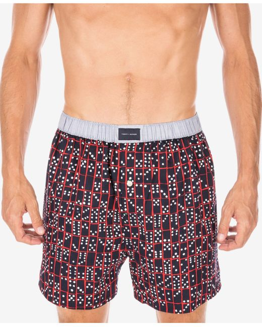 tommy hilfiger woven boxer shorts in red for men red clay save 25. Black Bedroom Furniture Sets. Home Design Ideas