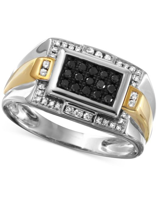 Macy's   Gray Men's Diamond Ring (3/8 Ct. T.w.) In 10k White Gold With 10k Gold Accents for Men   Lyst