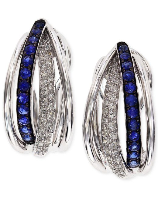 Effy Collection - Blue Sapphire (3/8 Ct. T.w.) And Diamond (1/4 Ct. T.w.) Hoop Earrings In 14k White Gold - Lyst